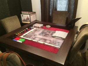 Kitchen Game Table in Sagamore Hill and Burgundy. Photo by Adam.