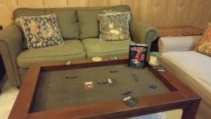 """$799 """"Topless"""" Coffee Table in Cherry with Dark Brown Fabric."""