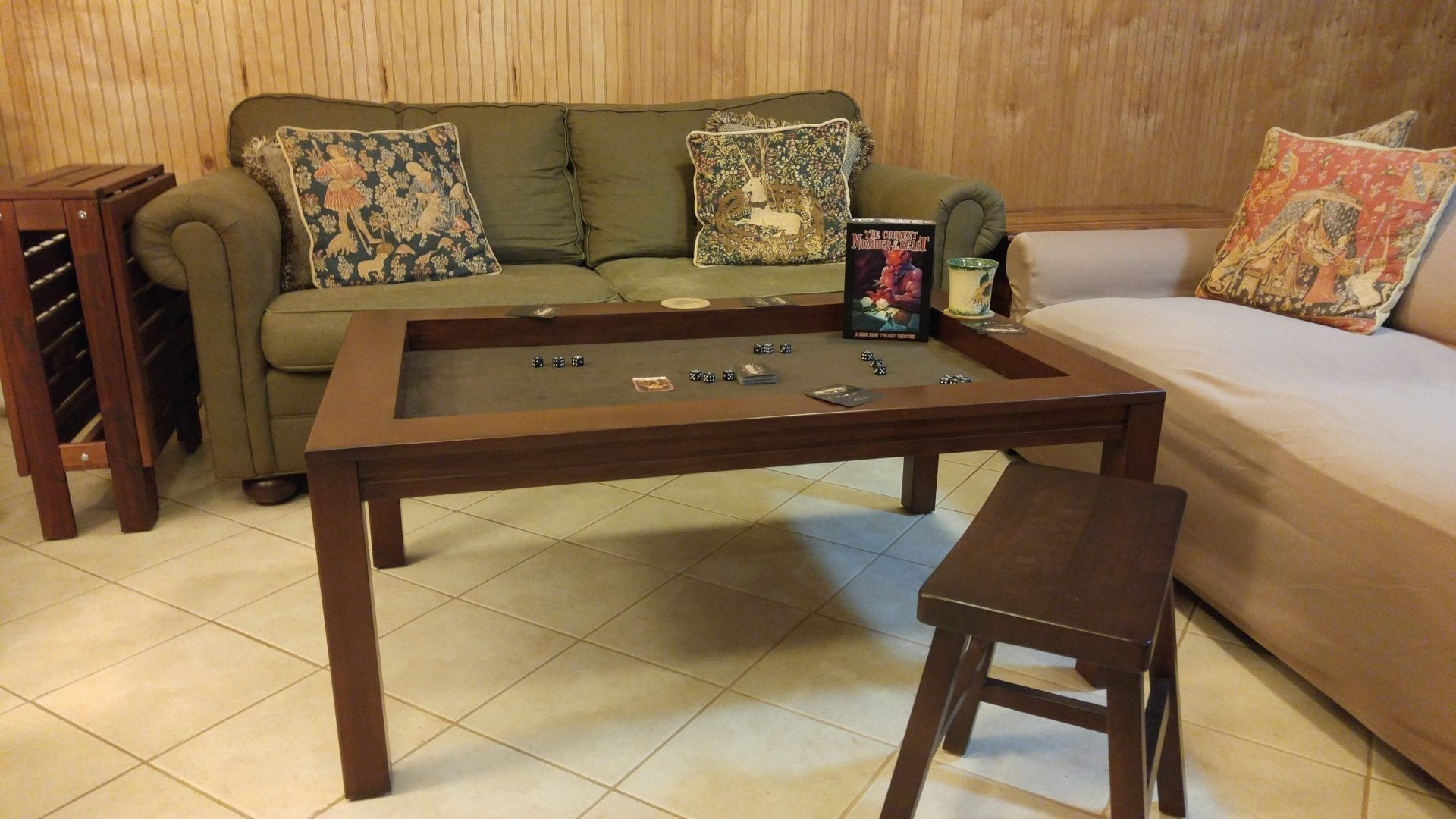 Incroyable Coffee Game Table In Cherry Finish And Dark Brown Fabric With Side Table/Bench  In