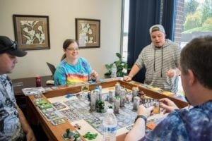 GKR Heavy Hitters on our Kitchen Game Table, counter height, in the Carolina Game Tables showroom in Hickory, NC. From International Tabletop Day 2018.