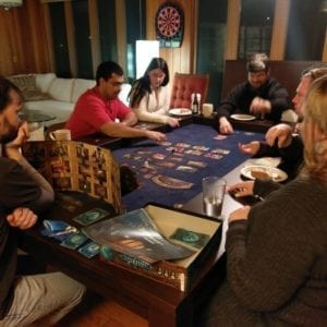 Tablezilla Game Table in Sagamore Hill finish and Dark Blue fabric. Photo by Karim and Aaliyah.