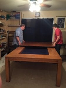 Tablezilla in Elm finish and Dark Blue fabric, showing the two halves of the top. Photo by Rick. Thanks Rick!