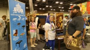 Clint (black and white shirt) in the booth answering questions, Origins 2016