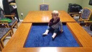Adorable Baby models Tablezilla! Shown in French Couture and Dark Blue. Photo by Josh.