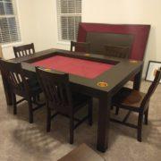 Gold Cup Holders! Dining Game Table shown in Sagamore Hill and Burgundy. Chairs and Side Tables/Benches also in Sagamore Hill. Photo by Andrew.