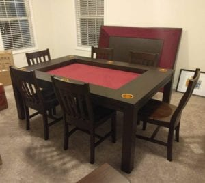 Gold Cup Holders! Dining Game Table shown in Cherry and Burgundy. Photo by Andrew.