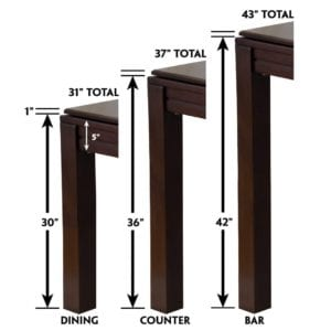 Table heights graphic