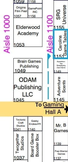Origins 2018 Booth Directions