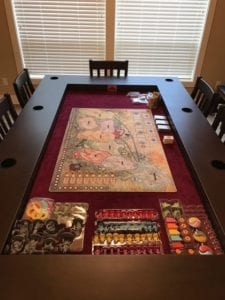 Rising Sun by CMON on Simon's Tablezilla! Shown in Sagamore Hill and Burgundy. Also showing our chairs!