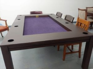 "$2199 ""As Is"" Tablezilla in Sagamore Hill with Purple fabric with cup holders. Includes two dining top pieces."