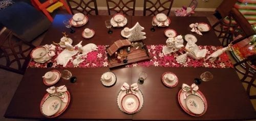 Tablezilla set for a formal holiday meal for nine.