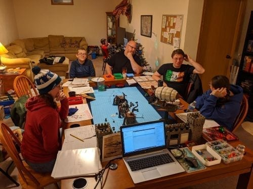 Playing DnD around Tablezilla with scenery, notes, and minis.